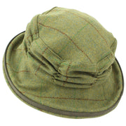 Ladies Wool Tweed Cloche Hat with a Ruched Crown - Mid Green