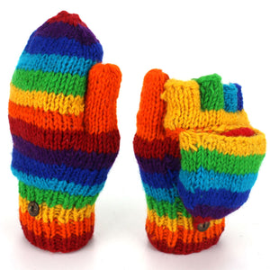 Wool Knit Shooter Gloves - Stripe Rainbow