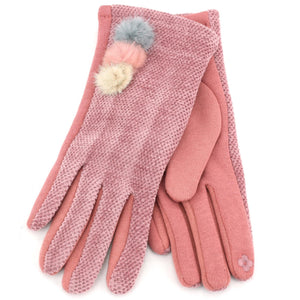 Ladies Velvet Gloves - Pink