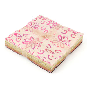 Cotton Batik Charm Pack Pre Cut Fabric Bundle - Pinks to Browns