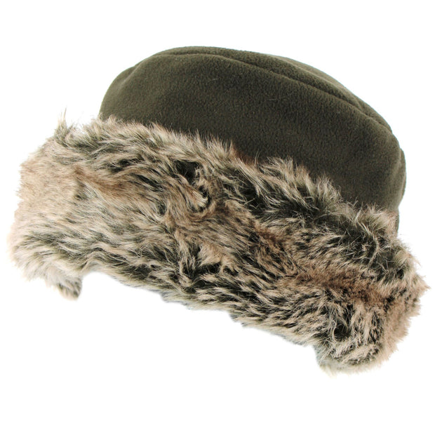 Fleece Hat with a Faux Fur cuff - Brown