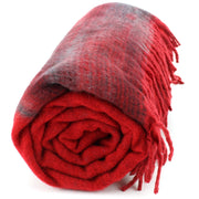 Tibetan Wool Blend Shawl Blanket - Red with Red & Grey Reverse