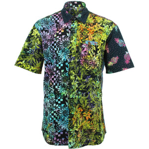 Regular Fit Short Sleeve Shirt - Random Mixed Batik - Black Neon