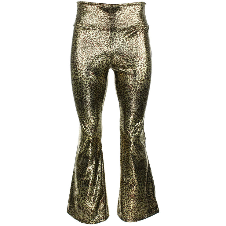 Shiny Metallic Flares Trousers - Leopard