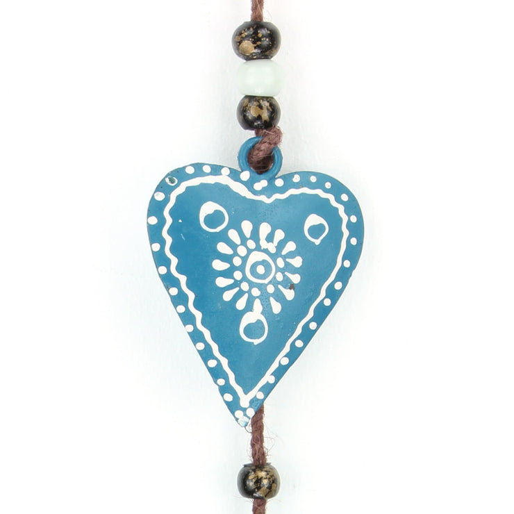 Hanging Mobile Decoration String of Hearts - Teal - Brown String