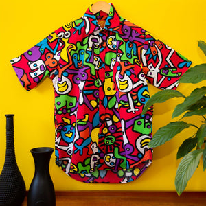 Regular Fit Short Sleeve Cotton Shirt - Tiffy Print - Red