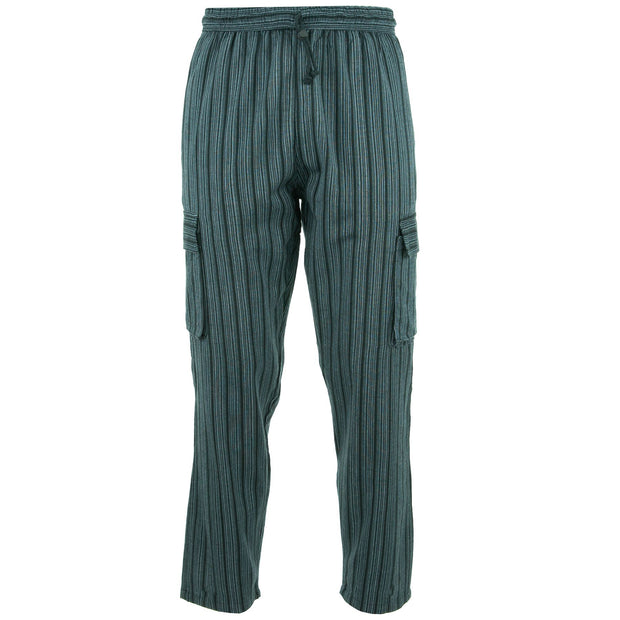 Cotton Combat Trousers Pant - Grey Black Stripe