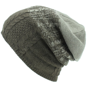 Wool Knit Baggy Slouch Beanie Hat - Brown