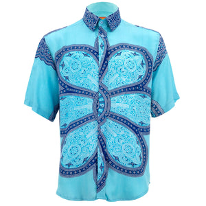 Regular Fit Short Sleeve Shirt - Flower Mandala - Light Blue