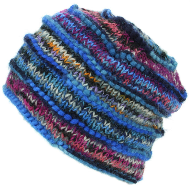 Chunky Ribbed Wool Knit Beanie Hat with Space Dye Design - Electric Blue