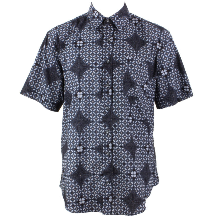 Regular Fit Short Sleeve Shirt - Slate Geometric