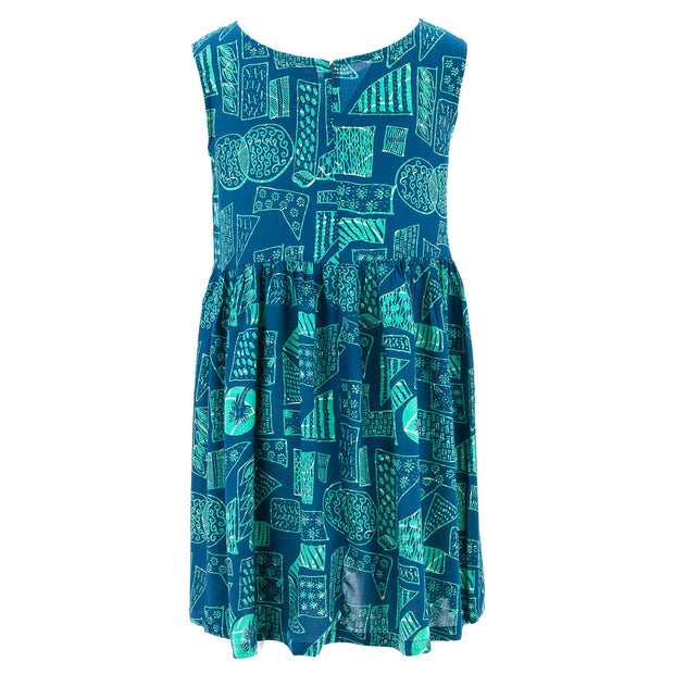The Shroom Dress - Blue Retro Geometric