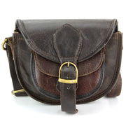 Real Leather Small Handbag - Dark Brown