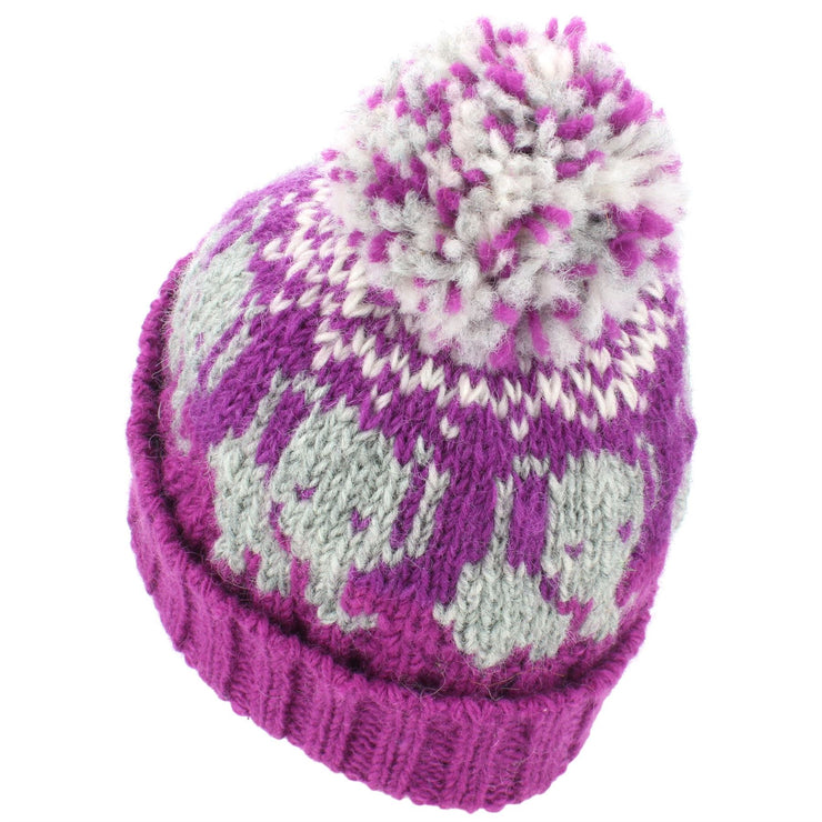 Wool Knit Bobble Beanie Hat - Elephant - Pink White