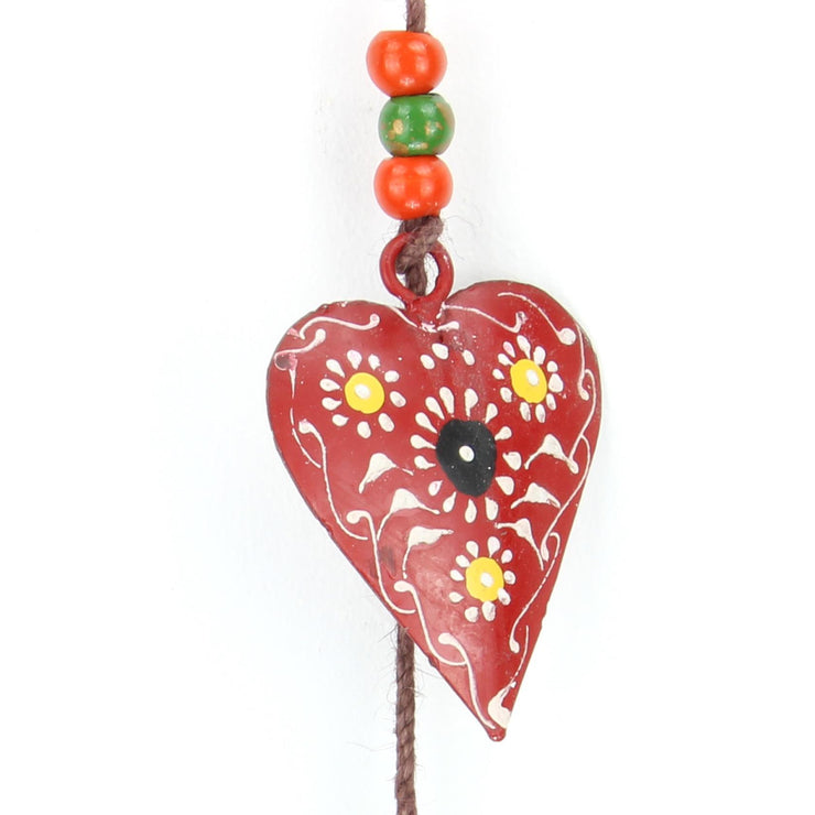 Hanging Mobile Decoration String of Hearts - Red - Brown String