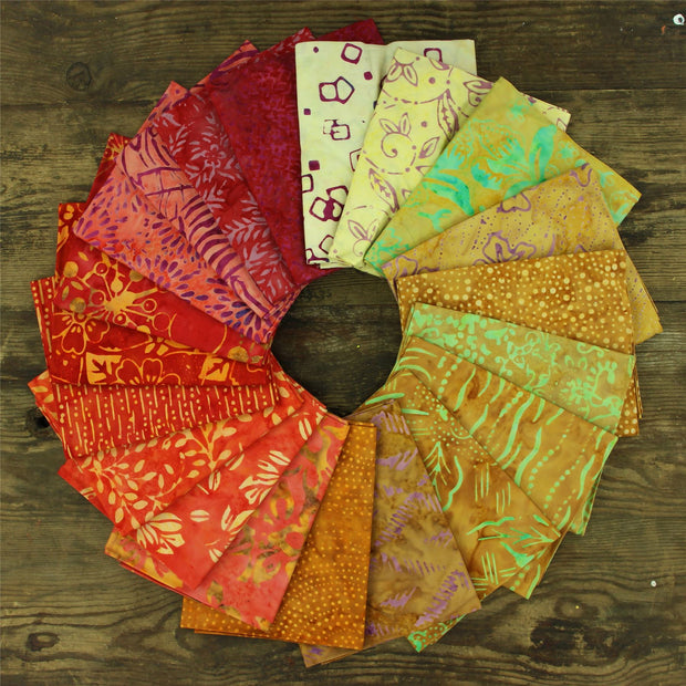 Cotton Batik Pre Cut Fabric Bundles - Fat Quarter - Dancing Flame