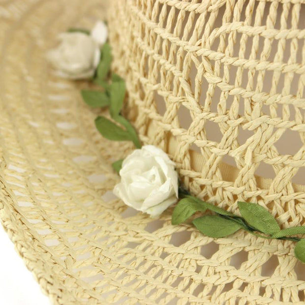 Straw Paper String Cowboy Hat with Flower Garland