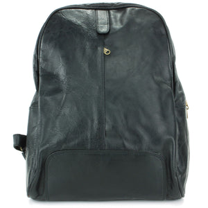 Real Leather Backpack Rucksack Bag - Black