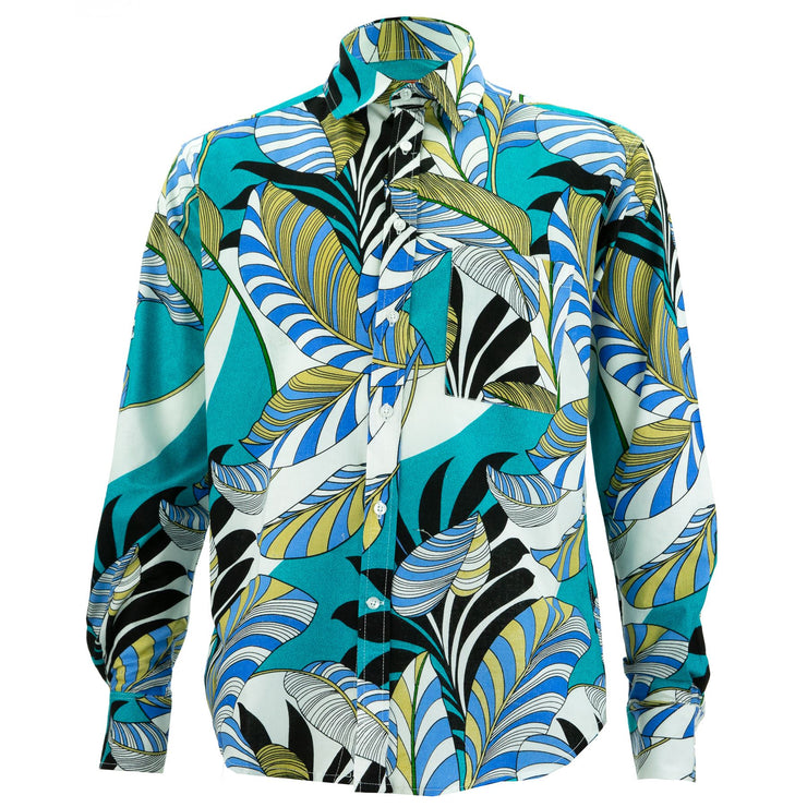 Regular Fit Long Sleeve Shirt - Exotic Vine - Turquoise