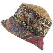Ladies Mixed Fabric Cloche Hat with Textured Crown