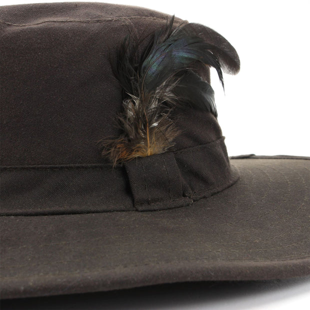Wide Brim Outback Style Wax Cotton Bush Hat with Feather - Brown
