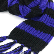 Chunky Wool Knit Striped Scarf - Purple & Black