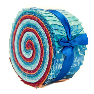 Cotton Batik Pre Cut Fabric Bundles - Jelly Roll - Blues & Reds