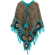 Granny Squares Crochet Poncho Long - Brown Multi/Turquoise