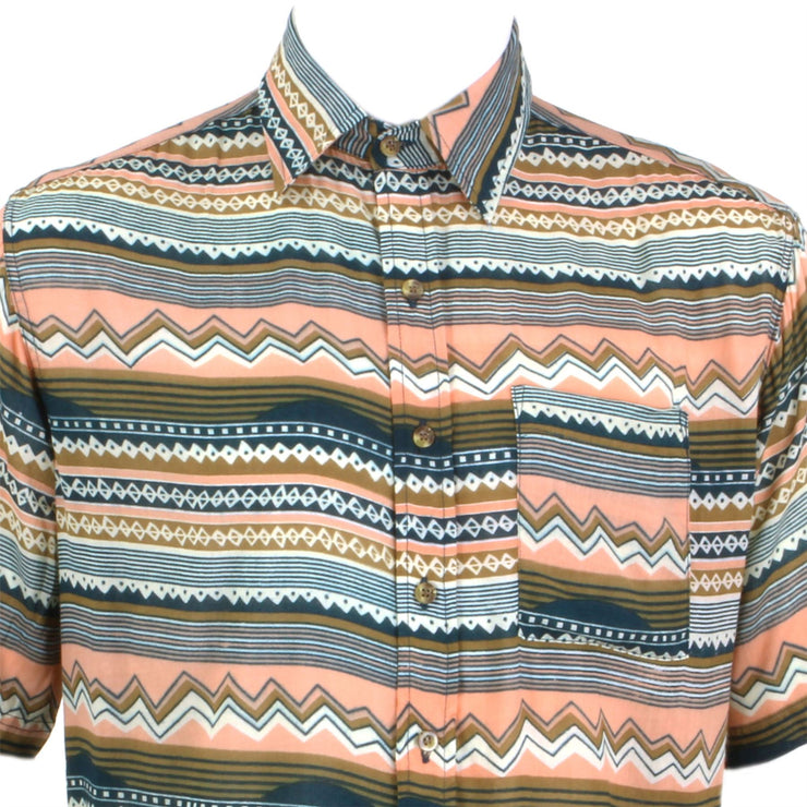 Regular Fit Short Sleeve Shirt - Orange Blue & White Zig Zags
