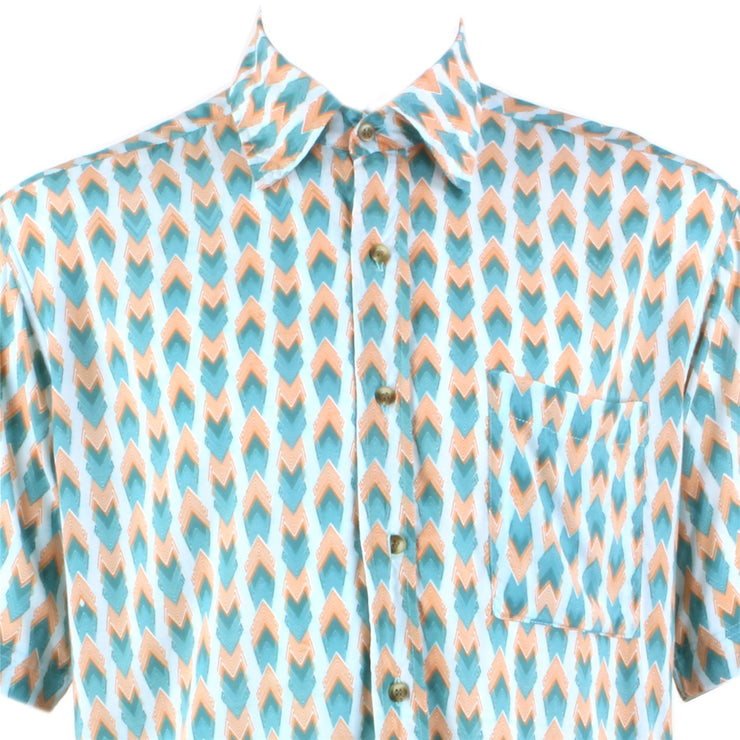 Regular Fit Short Sleeve Shirt - Turquoise & Pink Geometric