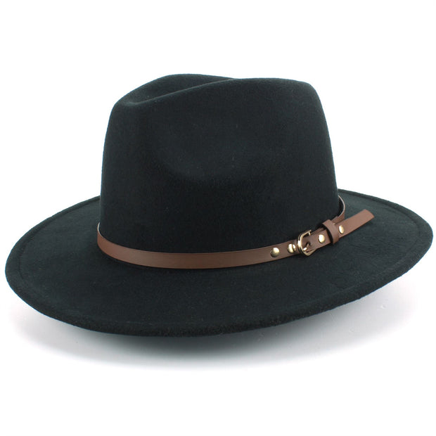 Fedora Hat with Faux Leather Band - Black