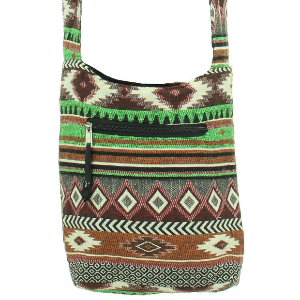 Cotton Canvas Sling Shoulder Bag - Aztec Green