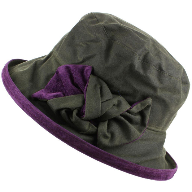 Ladies Waterproof Wax Cloche Hat with Suedette Brim and Bow - Green & Blackcurrant