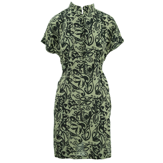 Mandarin Mini Dress - BeigeTrellis