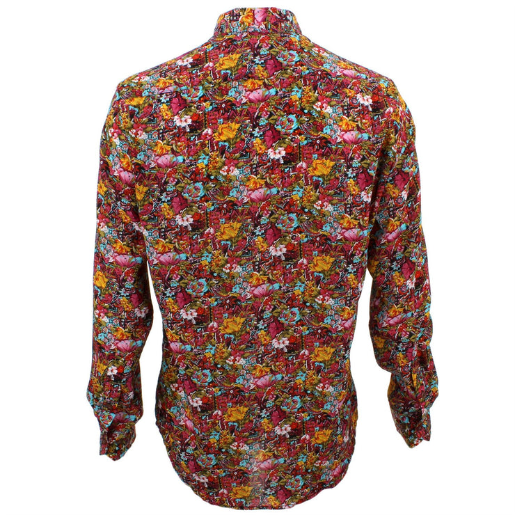 Tailored Fit Long Sleeve Shirt - Red & Orange Floral