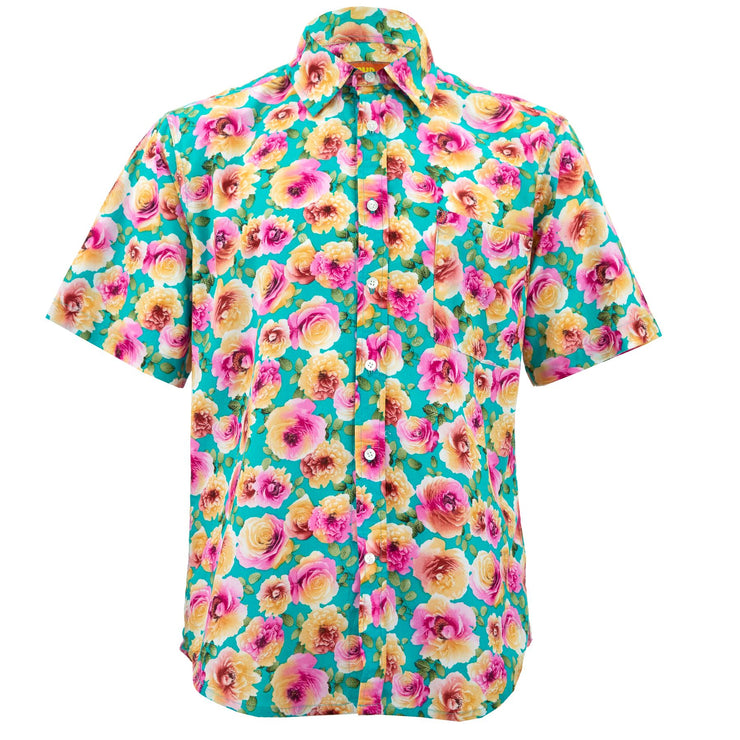 Regular Fit Short Sleeve Shirt - Blooming - Blue