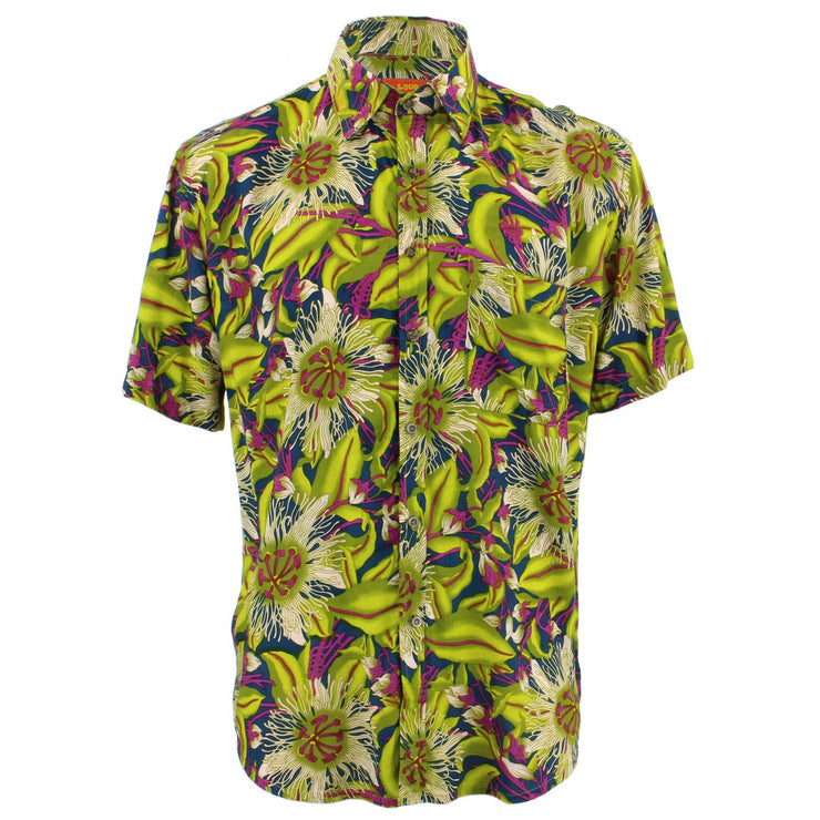 Tailored Fit Short Sleeve Shirt - Green & Purple Floral