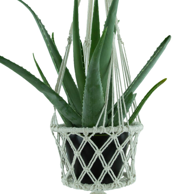 Macrame Hand Woven Rope Hanging Planter - Large (19cm Pot)