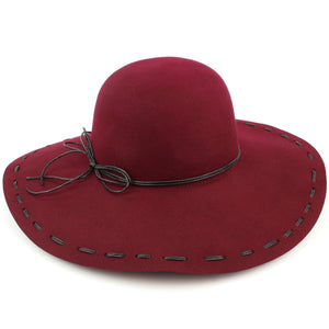 100% Wool felt wide brim floppy hat with cord band - Wine (57cm)