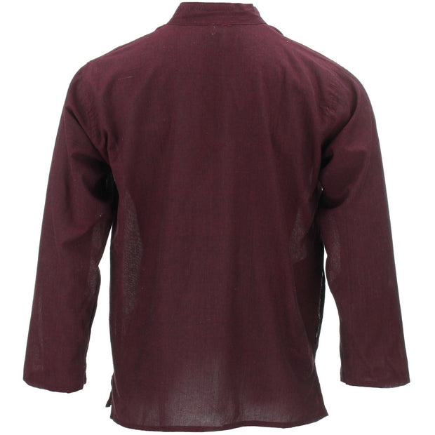 Long Sleeve Grandad Shirt - Wine