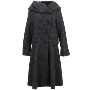 Wool Blend Woven Coat with an Oversized Collar Hood - Charcoal Grey