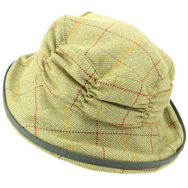 Ladies Wool Tweed Cloche Hat with a Ruched Crown - Light Green
