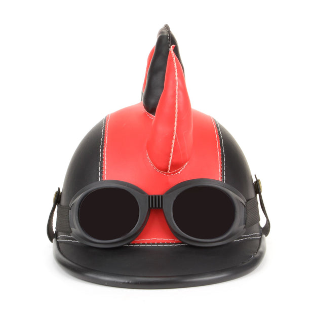 Saw Blade Mohawk Horned Novelty Festival Helmet with Goggles - Red & Black