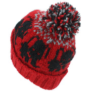 Wool Knit Bobble Beanie Hat - Elephant - Red Grey