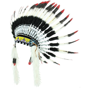 Native Amercian Chief Headdress - Red (Black Fur)