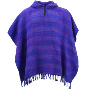 Hooded Square Poncho - Bright Purple