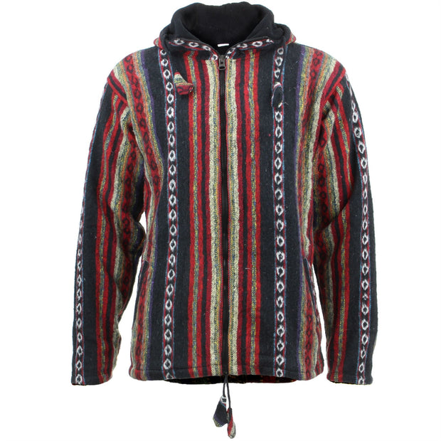 Fleece Lined Brushed Cotton Hooded Jacket Cardigan - Black & Red