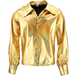 Shiny Metallic 70's Shirt - Gold
