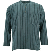 Cotton Grandad Collar Shirt - Grey Black Stripe