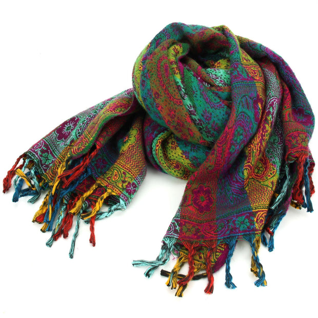 Vegan Wool Shawl Blanket - Paisley Stripe - Red & Green